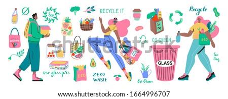 Vetor zero desperdiçar objetos estilo Foto stock © user_10144511