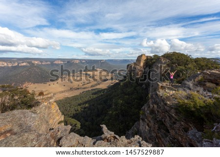 Adventurous hiker explorer reaching the top slab of Donkey Mount Stock photo © lovleah
