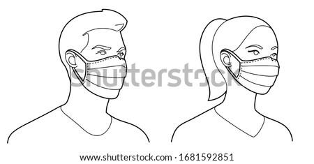 Black air pollution face mask, man or woman medical mask vector Stock photo © MarySan