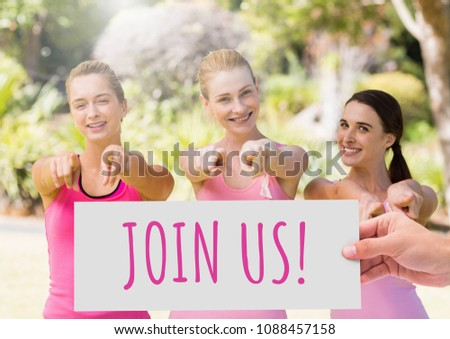 Join usText and Hand holding card with pink breast cancer awareness women Stock photo © wavebreak_media