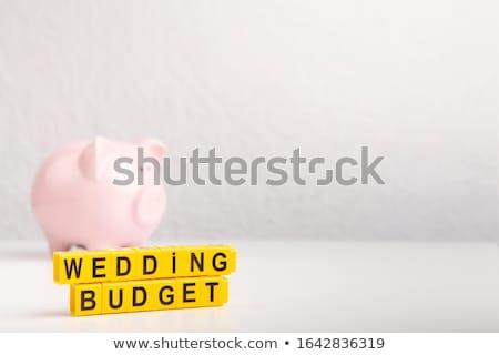 Foto stock: Rosa · piggy · bank · anéis · de · casamento · dourado · isolado
