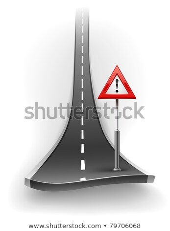 break of asphalt road with warning sign Stock photo © LoopAll