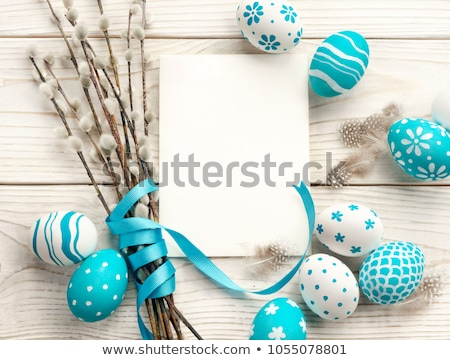close up of pussy willow branches and easter eggs Stock photo © dolgachov
