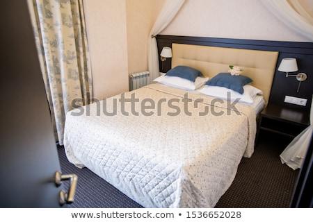 dwa · poduszkę · sypialni · biały · bed · arkusza - zdjęcia stock © pressmaster