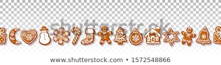 пряничный Рождества Cookies бесшовный границе горизонтальный Сток-фото © vectorikart