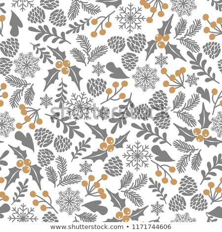 christmas seamless pattern with tree branches and holly berries stock photo © balasoiu