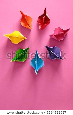 flotta · autentikus · origami · hajók · kék · csendélet - stock fotó © diego_cervo