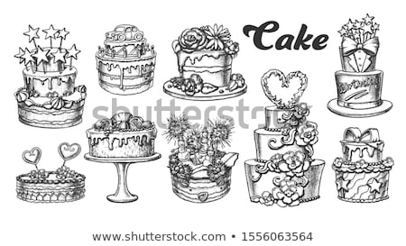Birthday Cake Decorated With Stars Retro Vector Stock photo © pikepicture