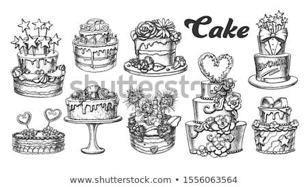 Bolo de aniversário decorado estrelas retro vetor aniversário Foto stock © pikepicture