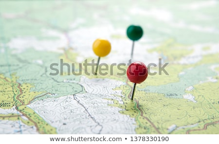 topographic map with colored needles pushpins close up Stock photo © mizar_21984