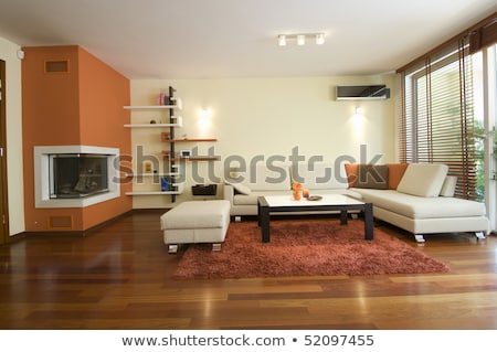 Red Table Lamp on Wooden Floor in the Room Stock photo © make
