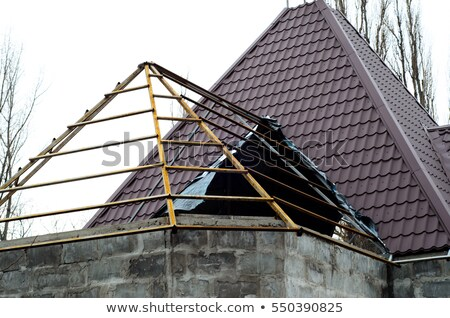 New wooden plates roof cover Stock photo © boggy