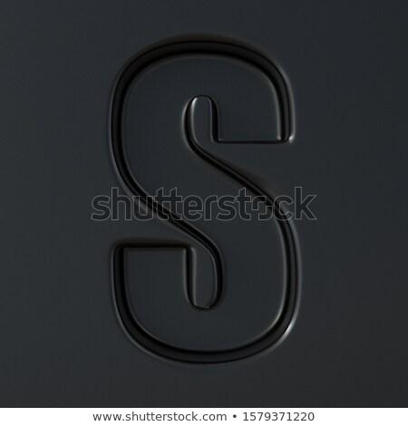 Black engraved font Letter S 3D Stock photo © djmilic