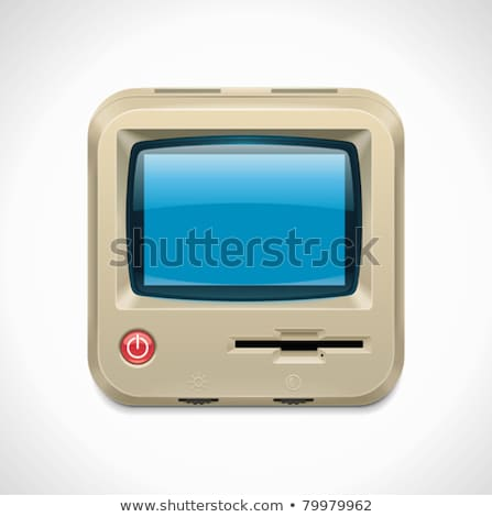 Vector retro computer square XXL icon	 Stock photo © tele52