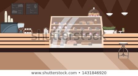 Nie ma ludzi działalności obiad kubek kawy ciasto Zdjęcia stock © ElenaBatkova