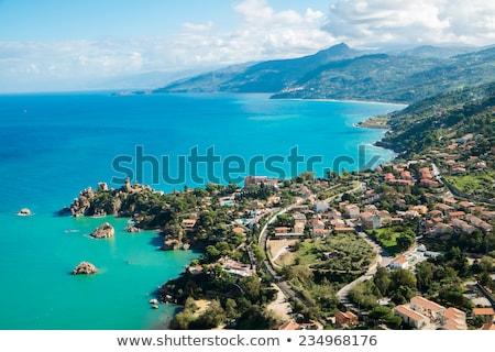 észak part Szicília szürkület égbolt víz Stock fotó © elxeneize