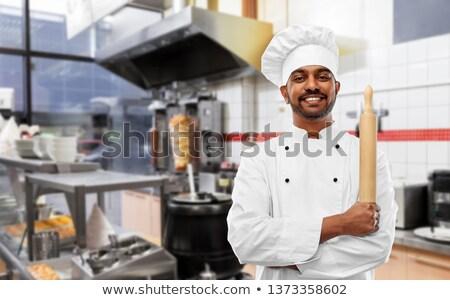 Boldog indiai szakács kebab bolt főzés Stock fotó © dolgachov