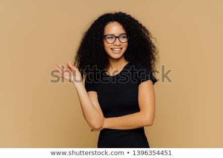 Mosolyog női afro frizura oké kézmozdulat Stock fotó © vkstudio