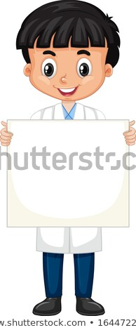 Boy in science gown holding sign on white background Stock photo © bluering