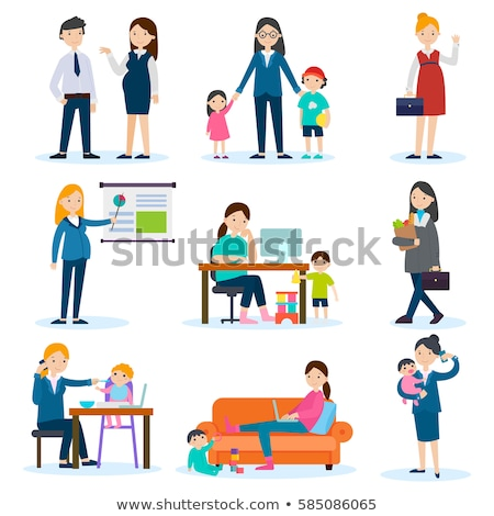 Freelance Pregnant Woman on Maternity Leave Vector Stock photo © robuart