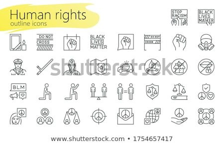 Crossed Police Batons Icon Outline Illustration Stock photo © pikepicture