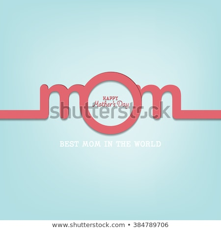 Happy Mother's Day Greeting Card Design with Flower and Typography Letter on Blue Background. Vector Stock photo © articular