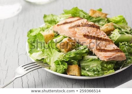 シーザーサラダ 鮭 魚 おいしい レストラン 皿 ストックフォト © olira