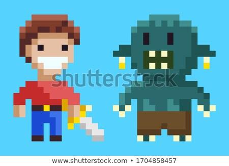 Bestia dientes signo juego vector monstruo Foto stock © robuart