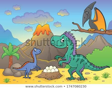 Dinoszauruszok vulkán kép fa természet tojás Stock fotó © clairev