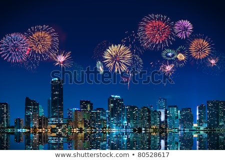 feux · d'artifice · Miami · grand · Skyline · centre-ville · ciel - photo stock © creisinger