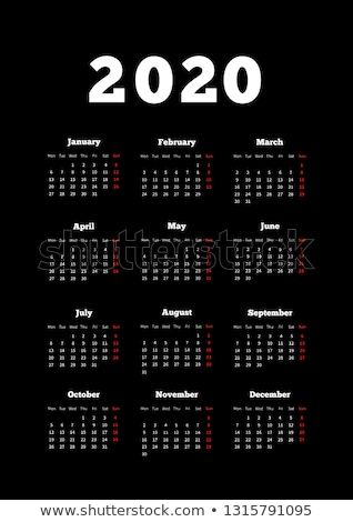 Calendar on 2020 year with week starting from monday, A4 size vertical sheet on dark background Stock photo © evgeny89