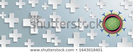 Corona Virus White Plus Gray Header Aesculapian Staff Stock photo © limbi007