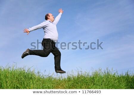 Vet man weide hemel gras man gelukkig Stockfoto © Paha_L