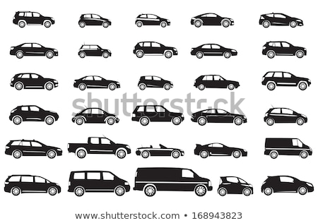 carro · silhueta · máquina · vintage · motorista · piloto - foto stock © Myvector