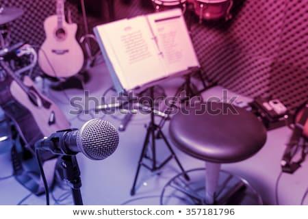 oude · gitaar · zwart · wit · foto · retro-stijl · achtergrond - stockfoto © hasenonkel