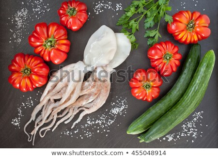 Raw cuttlefish with herbs Stock photo © aladin66