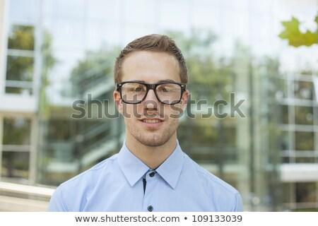 di · bell'aspetto · uomo · retro · nerd · occhiali · giovane - foto d'archivio © adamr