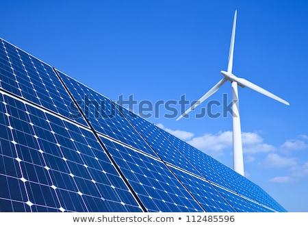 Windmolen blauwe hemel water zomer groene Stockfoto © duoduo