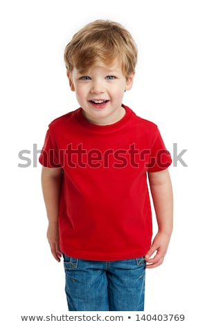 Funny child with red shirt isolated on white background  Stock photo © dacasdo
