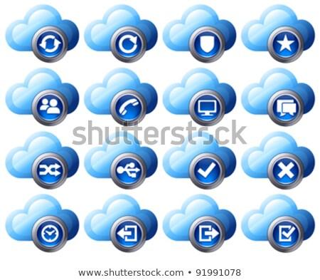 Virtual cloud icons Set 2 Blue Stock photo © fenton