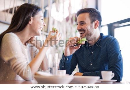 Stockfoto: Gelukkig · ontbijt · business · paar · telefoon