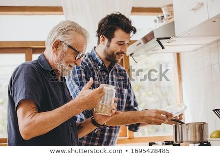 ebéd · otthon · idős · nő · orvosi · egészség - stock fotó © photography33