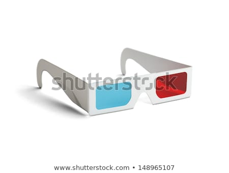 3d szemüveg fehér szemüveg kék film piros Stock fotó © jossdiim
