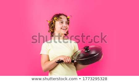 housewife with curlers and pan Stock photo © marylooo