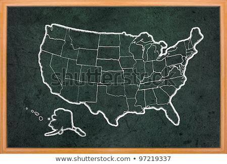 america map draw on grunge blackboard stock photo © ansonstock