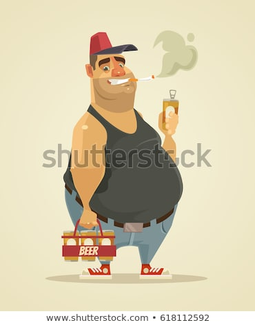 man drinking and smoking Stock photo © smithore