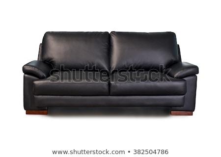 black leather sofa isolated on white background Stock photo © ozaiachin