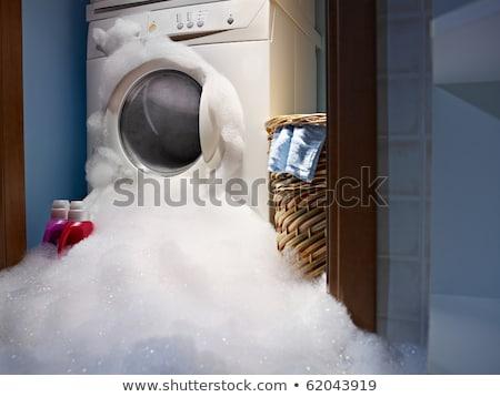 nő · tömés · mosógép · szennyes · ház · kéz - stock fotó © imaster