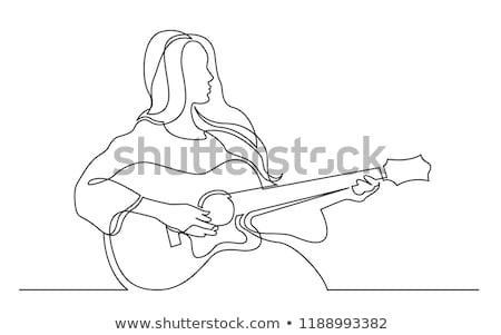 かなり · 少女 · ギター · クール · 十代の少女 · ミュージシャン - ストックフォト © carodi