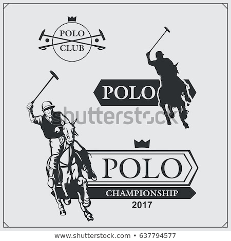 Black and white polo players vector silhouette Stock photo © leonido